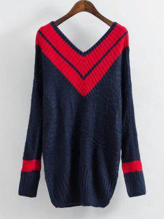 Kontrastierender Pullover Mit Streifenmuster Und V Ausschnitt - Rot