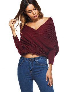 Crossed Front Chunky Wrap Sweater - Wine Red