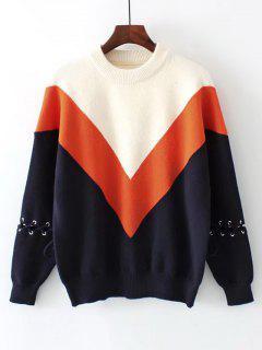 Color Block Drop Shoulder Lace Up Sweater - Orangepink