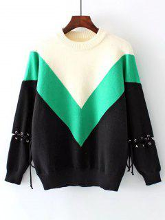 Color Block Drop Shoulder Lace Up Sweater - Green
