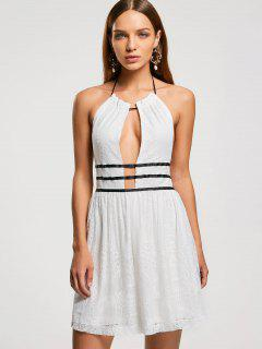 Backless Halter Lace Semi Prom Dress - White M