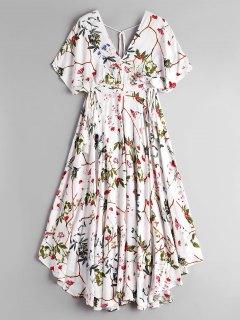 Empire Taille Blumen Asymmetrische Midi Kleid - Weiß L