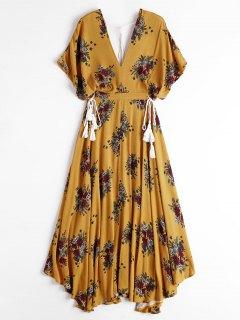 Batwing Blumenausschnitt Maxi Kleid - Gelb S