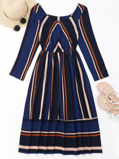 Long Sleeve Striped Mid Calf Dress - Deep Blue S