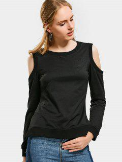 Back Zip Up Cold Shoulder Ripped Tee - Black S