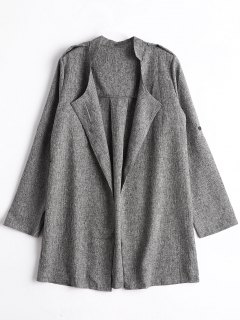 Heathered Open Front Coat - Gray M