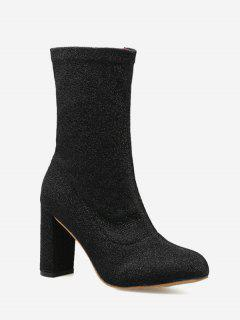 Pointed Toe Chunky Heel Zip Boots - Black 39