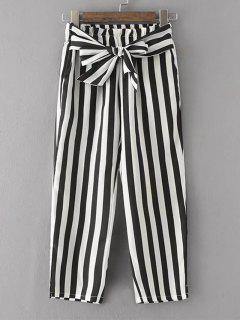 Bowknot Stripes Straight Pants - Stripe M