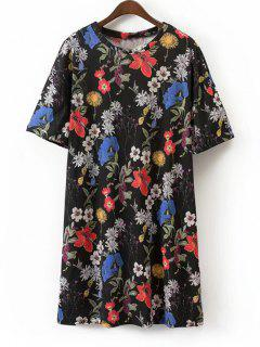Floral Shift Mini Camiseta Vestido - Floral L
