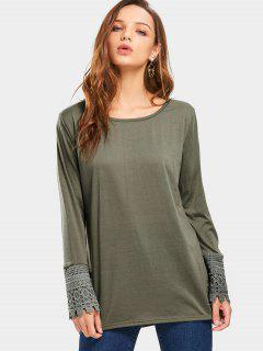 Lace Panel Round Collar Tee - Army Green M