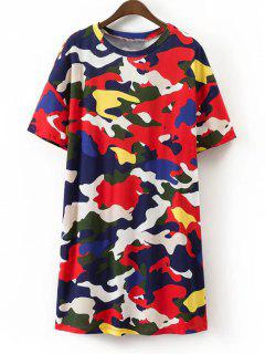 Camouflage Shift Mini T Shirt Dress - Multicolor M
