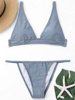 Plunging Neck Bralette Thong Bikini Set - Gray M