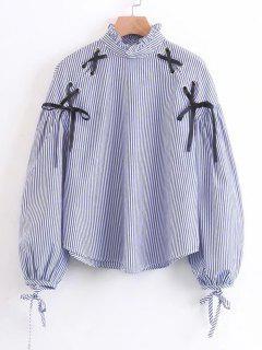 Criss Cross Ruffles Stripes Blouse - Stripe M