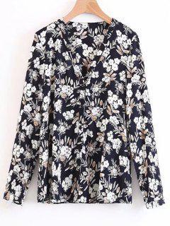 Chemise Florale Boutonnée à Col En V - Floral S