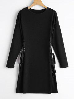 Long Sleeve Lace Up A Line Dress - Black S