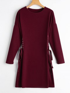 Long Sleeve Lace Up A Line Dress - Wine Red M