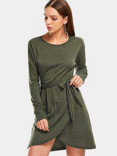 Round Collar Long Sleeve Belted Dress - Army Green L