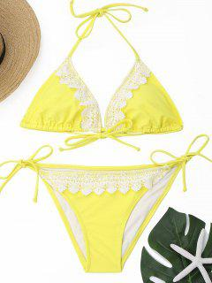 Laced Halter Bikini Set - Yellow L