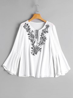 Flare Sleeve Tassels Embroidered Blouse - White M
