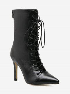 Pointed Toe Stiletto Criss Cross Boots - Black 40