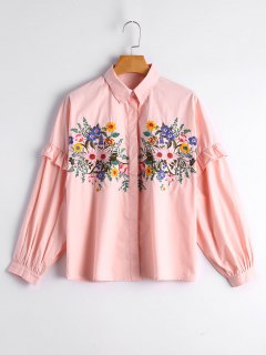 Loose Floral Embroidered Ruffled Shirt - Pink M