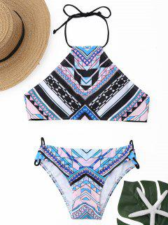 Geometrical Print High Neck Bikini Set - S