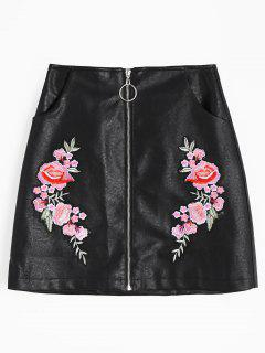 Zip Front Floral Patched Faux Leather Skirt - Black L