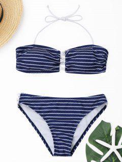 Halter Stripe Bandeau Bikini Set - Deep Blue S
