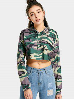 Drop Shoulder Cropped Camouflage Hoodie - Camouflage M