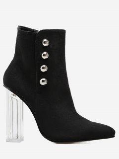 Chunky Heel Transparent Stud Ankle Boots - Black 40