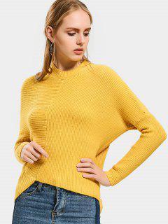 Plain Asymmetrical Sweater - Yellow