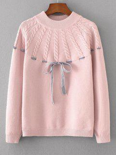 Bowknot Cable Knit Panel Sweater - Pink