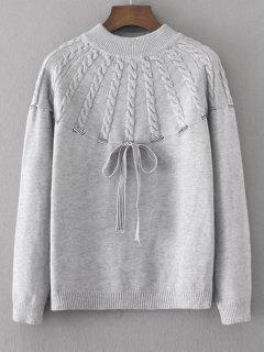 Bowknot Cable Knit Panel Sweater - Gray