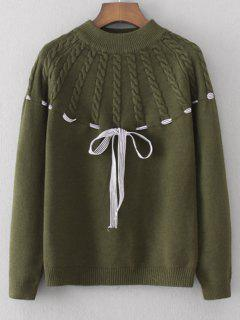 Bowknot Cable Knit Panel Sweater - Army Green