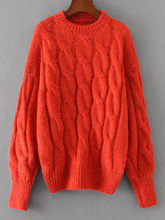 Loose Cabke Knit Chunky Sweater - Red