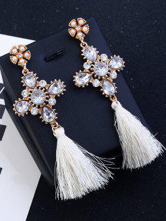 Cross Design Rhinestone Floral Tassel Drop Earrings - White