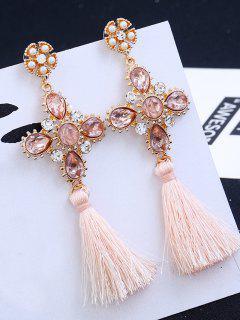 Cross Design Rhinestone Floral Tassel Drop Earrings - Pink