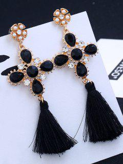 Cross Design Rhinestone Floral Tassel Drop Earrings - Black