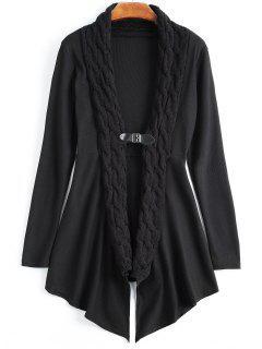 Cable Knit Asymmetric Shawl Cardigan - Black 2xl