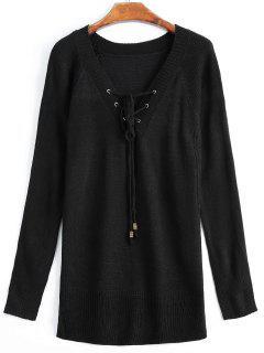 Suéter De Encaje Con Cuello En V Profundo - Negro M
