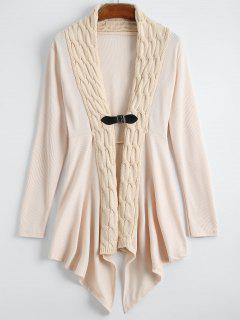 Cable Knit Asymmetric Shawl Cardigan - Off-white M