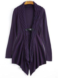 Cable Knit Asymmetric Shawl Cardigan - Deep Purple S