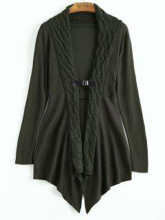 Cable Knit Asymmetric Shawl Cardigan - Dark Green M