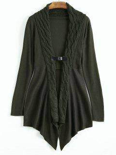 Cable Knit Asymmetric Shawl Cardigan - Dark Green M