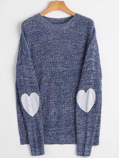 Heart Elbow Patch Pullover Sweater - Royal M