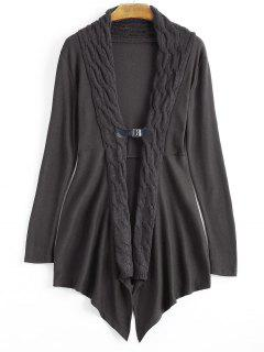 Cable Knit Asymmetric Shawl Cardigan - Greyish Brown 2xl