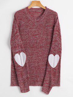 Heart Elbow Patch Pullover Sweater - Claret S