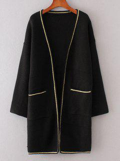 Longline Contrasting Open Front Cardigan - Black