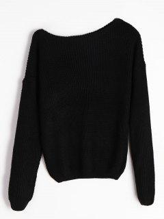 Knitted Skew Neck Sweater - Black M