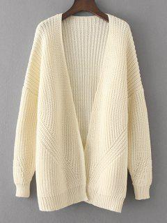 Loose Open Front Chunky Cardigan - White